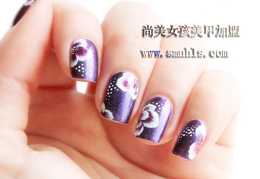 排笔紫荆花美甲教程